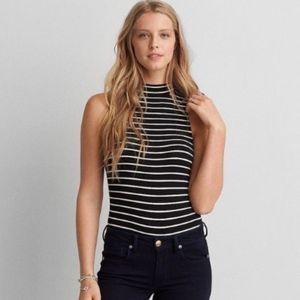 AEO First Essentials Mock Neck Striped Bodysuit